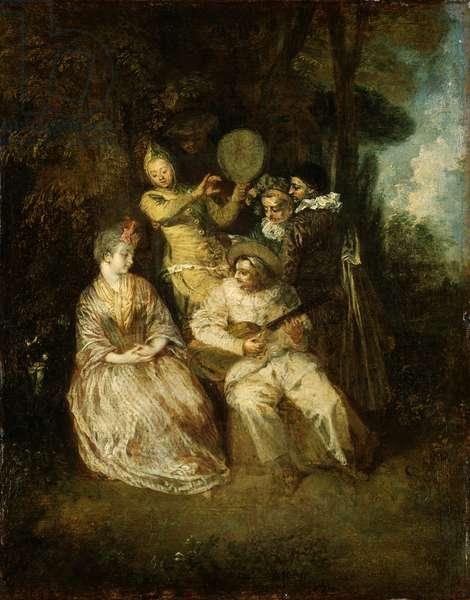 The Italian Serenade (oil on panel)