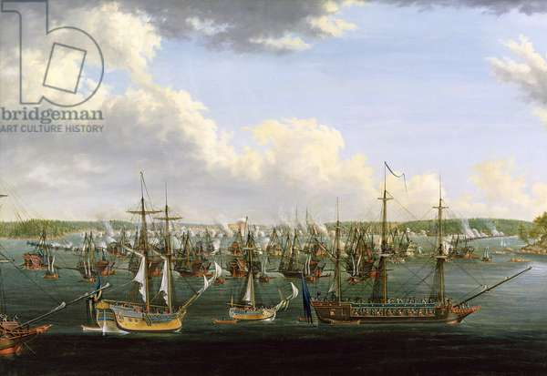The Battle at Fredrikshamn, 15 May 1790 (oil on canvas)