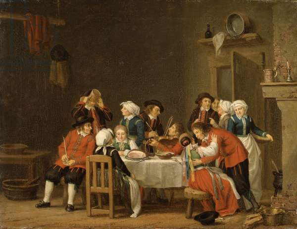 Convivial Scene in a Peasant's Cottage (oil on canvas)