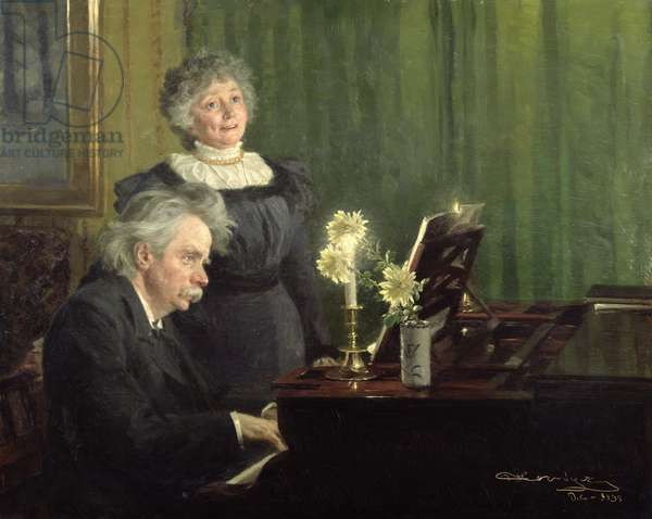 Edward Grieg (1843-1907) Accompanying his Wife, 1898 (oil on panel)