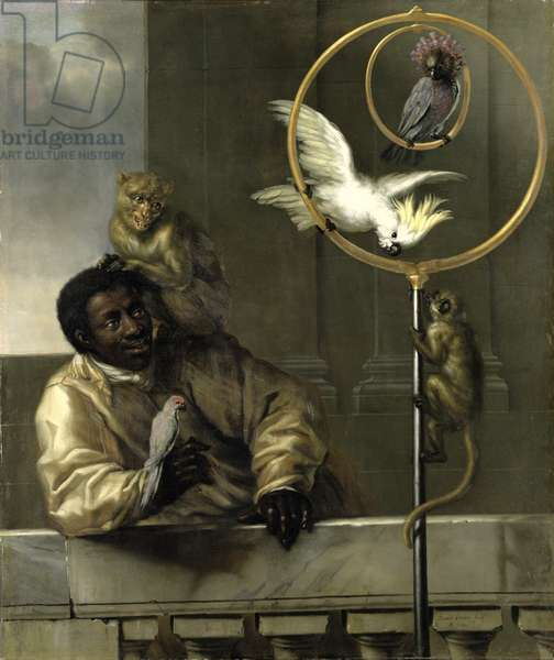 Negro with Parrots and Monkeys, 1670 (oil on canvas)