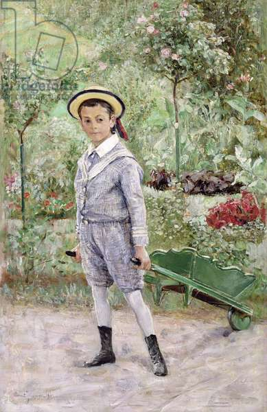 Boy with a Wheelbarrow, 1880 (oil on canvas)