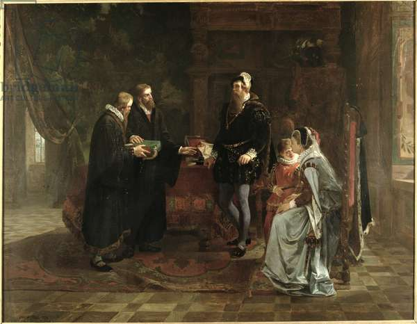 King Gustav I Vasa (c.1496-1560) of Sweden Receiving the Swedish Translation of the Bible, 1870 (oil on canvas)