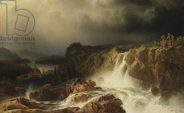 Rocky Landscape with Waterfall in Smaland, 1859 (oil on canvas)