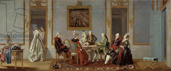 Gustavian Style Interior with Card-Players (oil on canvas)