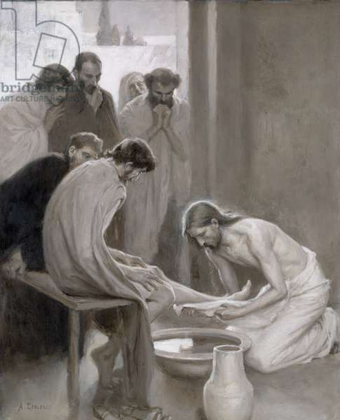 Jesus Washing the Feet of his Disciples, 1898 (oil and grisaille on paper)