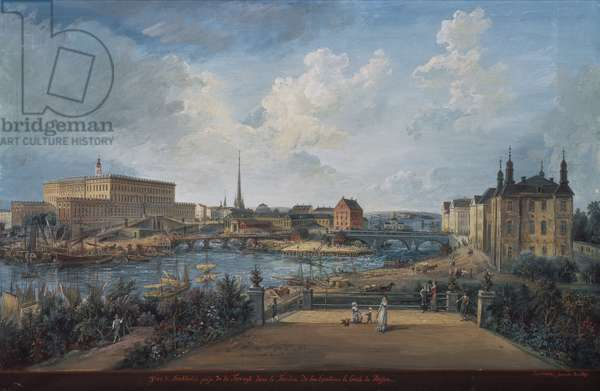View of Stockholm from the Fersen Terrace with the Palace Makalos (gouache on canvas)