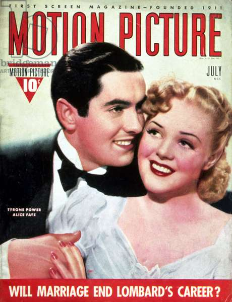 Tyrone Power and Alice Faye on the cover of Motion Picture