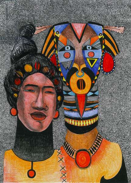 Together-forever, 2012 (pen, ink and colour pencils on paper)