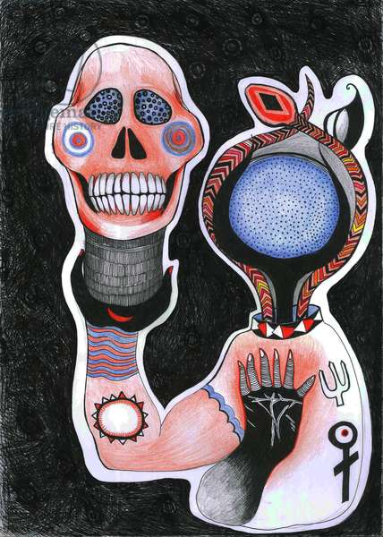 Inside-Out, 2012 (pen, ink and colour pencils on paper)