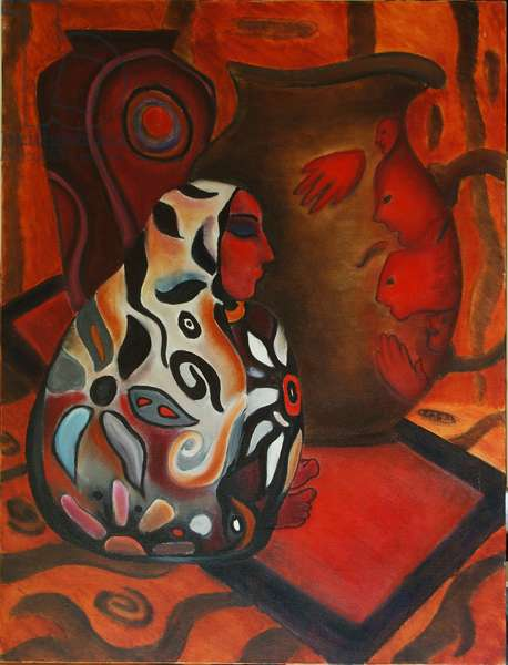 The Vase Woman, 2000 (oil on canvas)