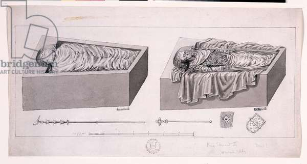 The Opening of the Tomb of Edward I, 1774 (pen & ink with wash on paper)