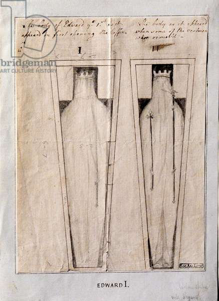The Body of Edward I, as it appeared on first opening the coffin, and when some of the vestments were removed, 1774 (ink & graphite on paper)