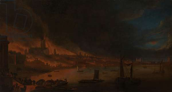The Great Fire of London, c.1666-1700 (oil on canvas)