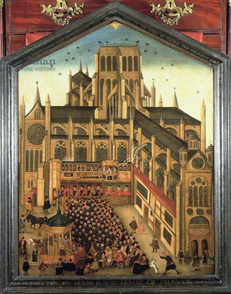 Dr King preaching at Old St Paul's before James I (1603-25) 1616 (oil on panel)