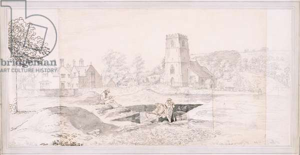 The Excavation of Woodchester Roman Villa, 1793 (pencil, pen, ink & wash on paper)