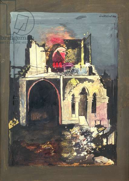 Devastation 1940, Old Masonic Hall, Swansea, 1940 (w/c & gouache on paper)
