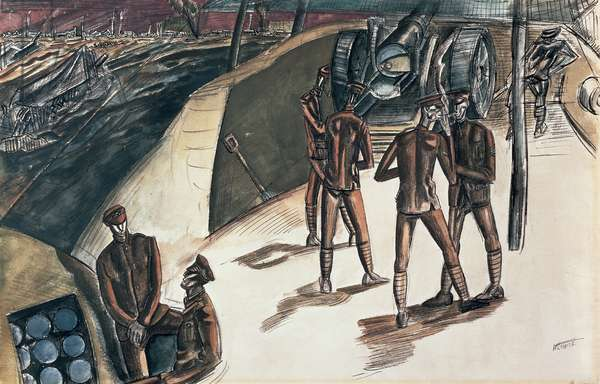 Drawing of The Great War No. 1 (The Menin Road) (w/c on paper)
