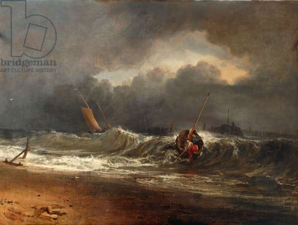 Fishermen upon a lee-shore in squally weather (oil on canvas)