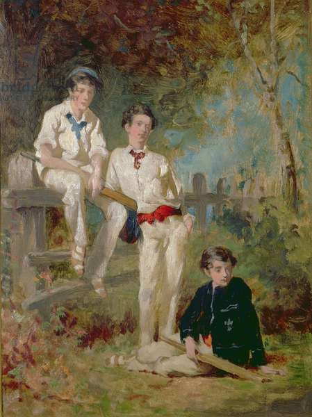 Three Young Cricketers, c.1883 (oil on card)