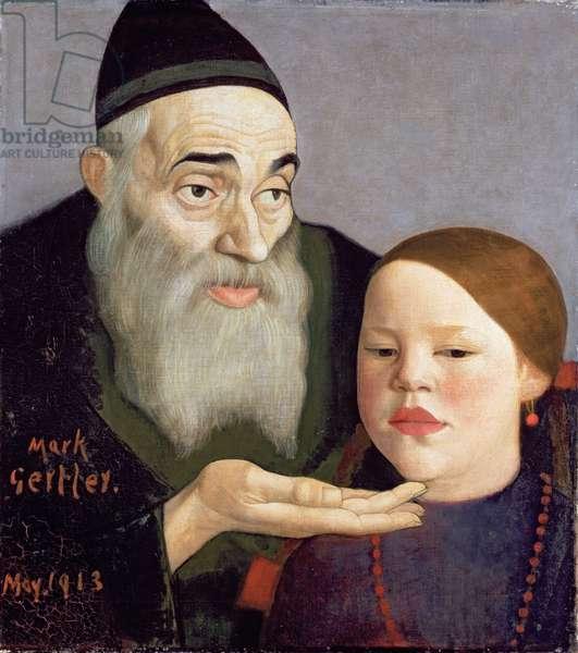 The Rabbi and his Grandchild, 1913 (oil on canvas)