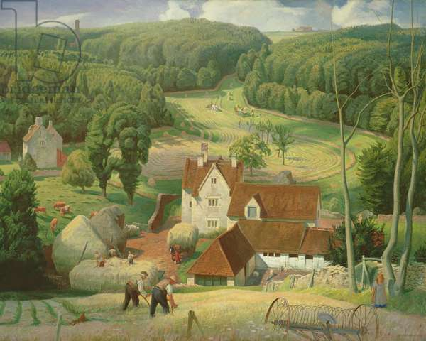 Haytime in the Cotswolds, 1939 (oil on canvas)