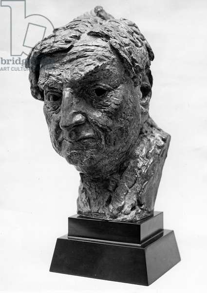 Head of Ralph Vaughan Williams (1872-1958) (bronze) (b&w photo)