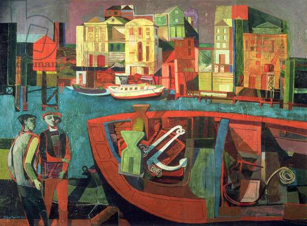 Rotherhithe from Wapping, 1946 (oil on plywood)