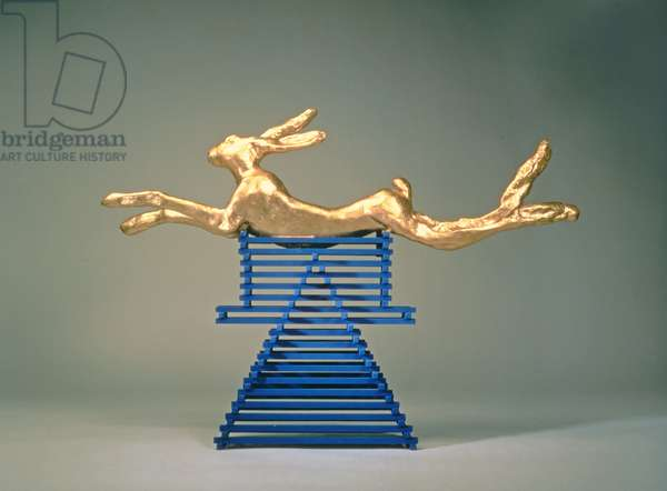 Leaping Hare, 1981 (gilded bronze & stained wood stand)
