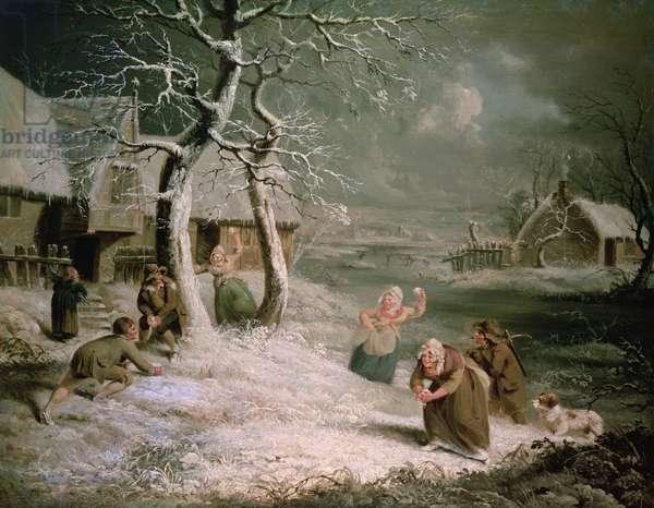 Peasants Snowballing, c.1790 (oil on canvas)