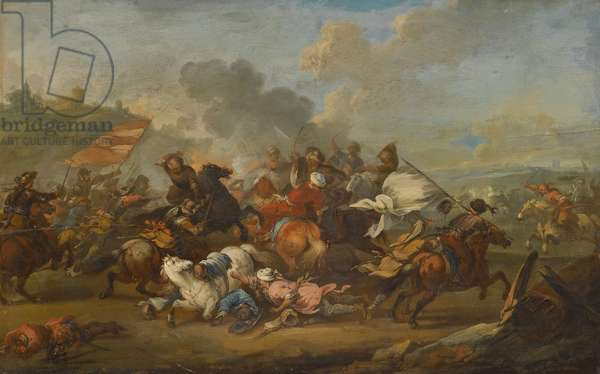 Battle scene between Christians and Saracens (oil on panel)