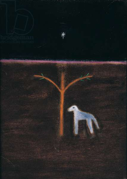 Star, Tree and Sheepdog, 1988 (oil on canvas)