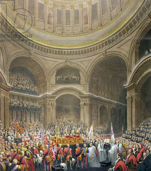 Funeral of Arthur Wellesley (1769-1852) Duke of Wellington in St. Paul's Cathedral, engraved by J. Thomson and E.J. Parris, 1852 (colour litho)