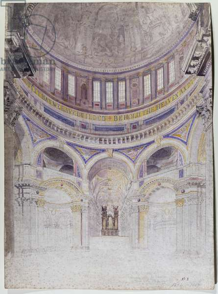 Early study for the proposed decoration of St. Paul's Cathedral, 1856-57 (w/c on paper)