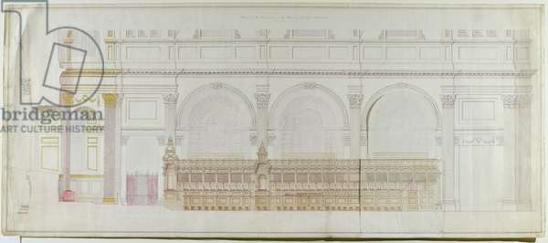 Elevation of the choir in St. Paul's Cathedral as redecorated by C.R. Cockerell (1788-1863) 1848 (pencil & w/c on paper)