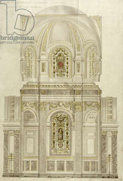 Decorative scheme for the apse of St. Paul's Cathedral, late 19th century (w/c on paper)