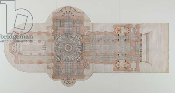 Paving plan of St. Paul's Cathedral, as executed, c.1710 (pen & ink wash on paper)