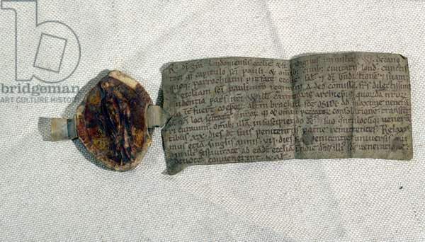 Ms.25122/1140 Indulgence granted by the Bishop of London, with episcopal seal, c.1120 (vellum)