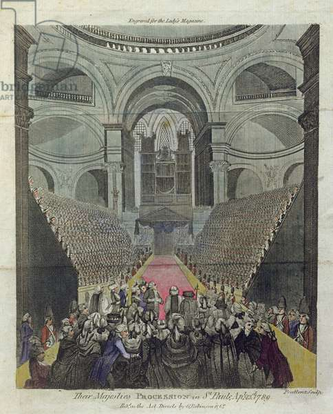 Interior of St. Paul's Cathedral during the Thanksgiving Service for the recovery of King George III (1738-1820) 23rd April 1789 (coloured engraving)