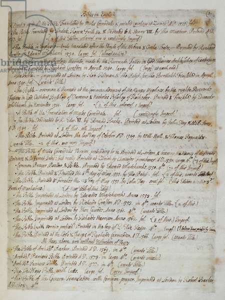 Ms.CF57 Catalogue of bibles at St. Paul's Cathedral, 1707 (pen & ink on paper)
