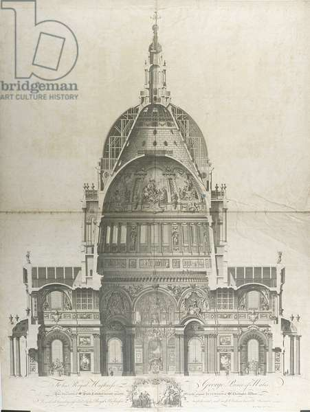 Cross section of St. Paul's Cathedral decorated to the original intention of Sir Christopher Wren (1632-1723) published by S. Wale and J. Gwyn, 1801 (engraving)