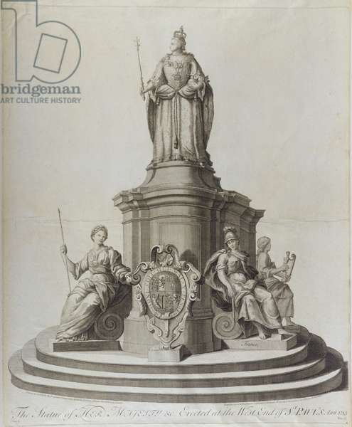 Statue of Queen Anne (1665-1714), published 1713 (engraving)