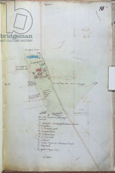 Ms 25517/1 fol.88  Map of the village of Belchamp St. Paul, 1576 (pen & ink and w/c on paper)