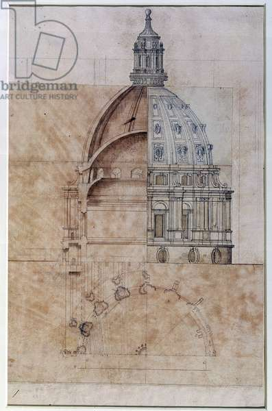 The 'Definitive Design': section, elevation and half plan of St. Paul's Cathedral dome (pencil on paper)