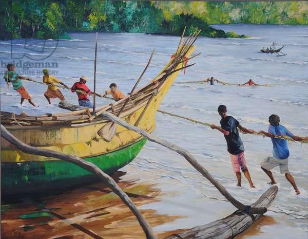 Fishermen, 2013, (gouache on paper)