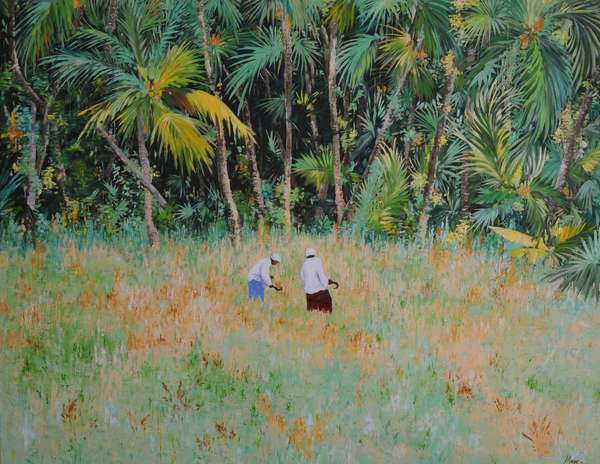 Walking to the palm trees, 2013, (gouache on paper)