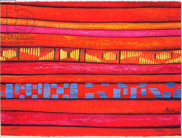 Moroccan Fabrics 1, 2013, (gouache on paper)