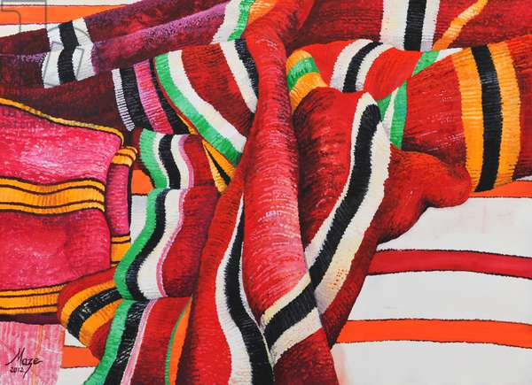 Moroccan Fabrics 5, 2013, (gouache on paper)