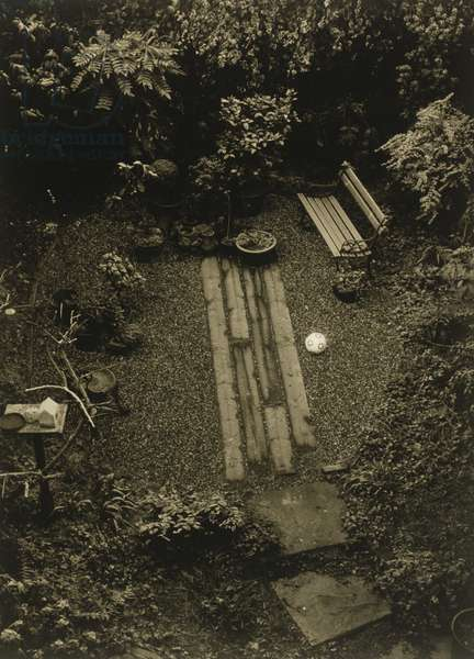Garden and bench with football
