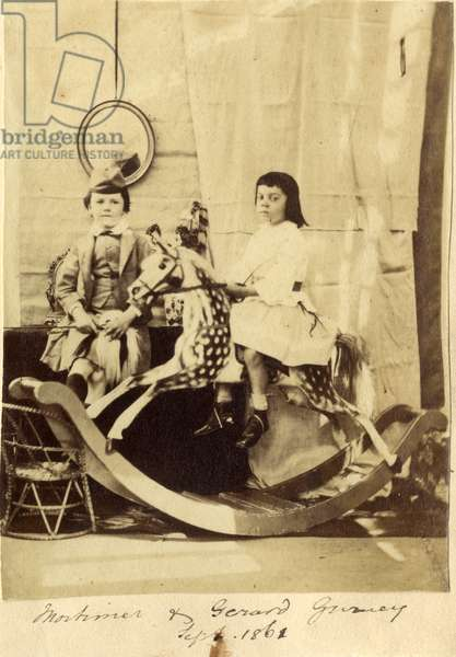 Mortimer and Gerard Gurney with their rocking horse, 1861 (albumen print)